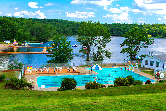 Waterfront and pool facilities at summer camp in Pennsylvania
