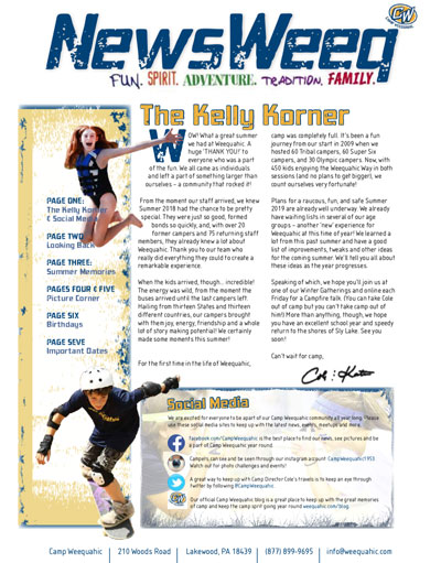 Camp Weequahic Newsletter Fall 2018