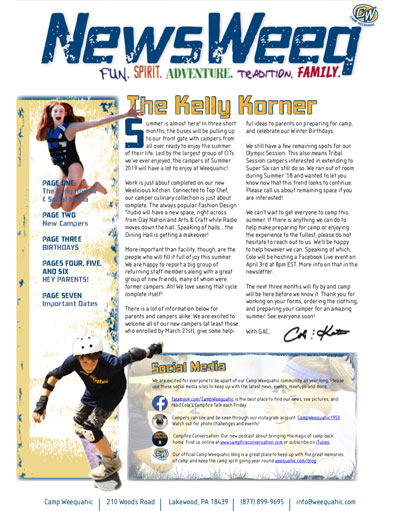 Camp Weequahic Newsletter March 2019
