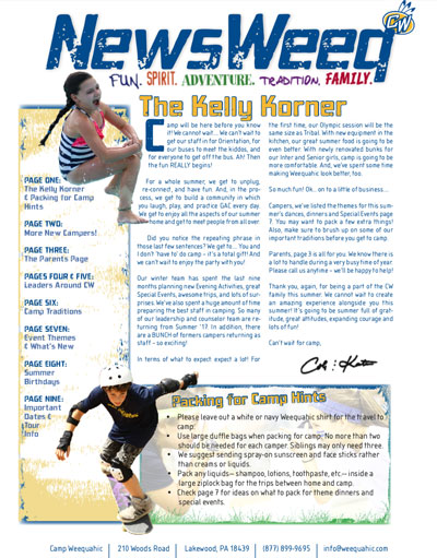 Camp Weequahic Newsletter Spring 2018