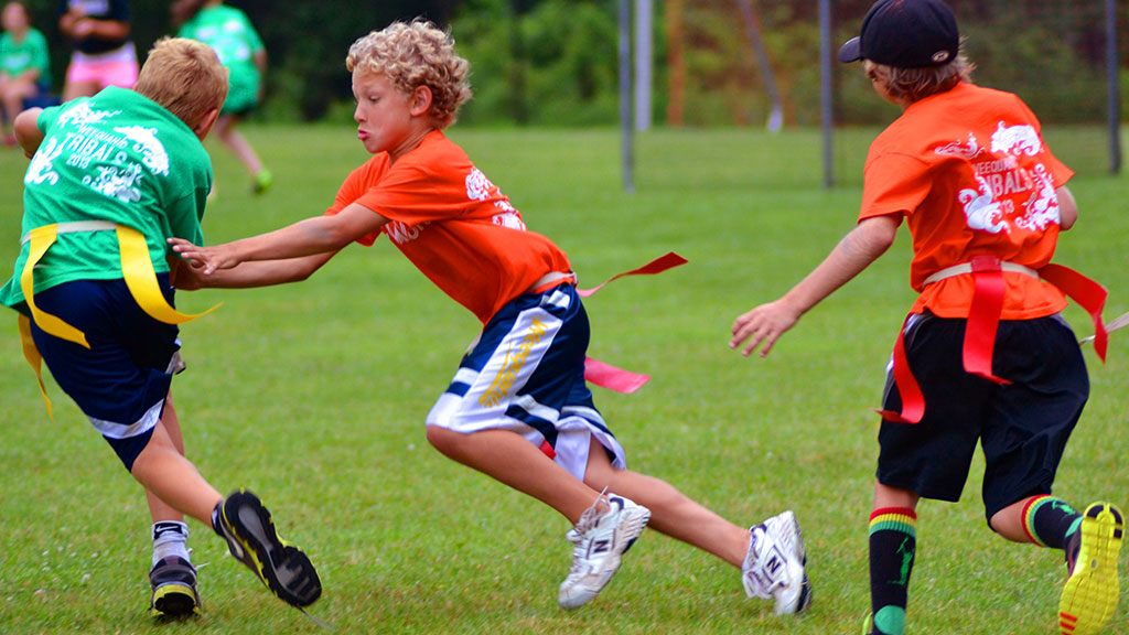 Summer camp sports league play